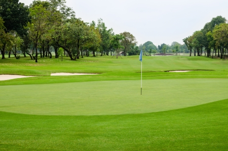 view nature landscape of beautyful golf course at Thailand