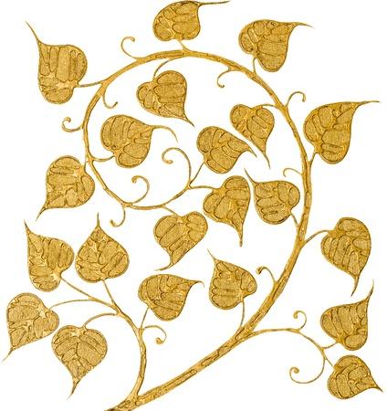 Bodhi pintado aislado de oro sobre fondo blanco Foto de archivo - 21743560