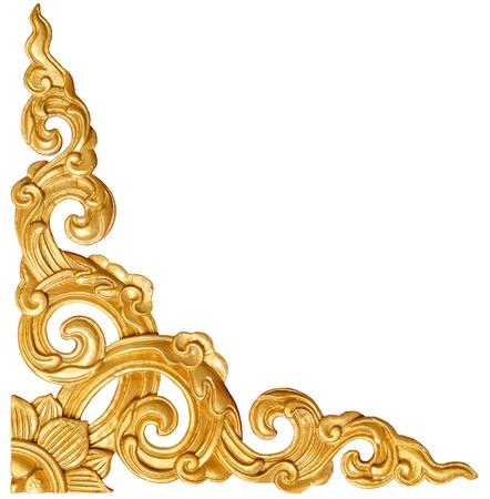 伝統的なタイのスタイル パターンの装飾的な白い背景に、寺院、タイの金漆喰塗料の分離