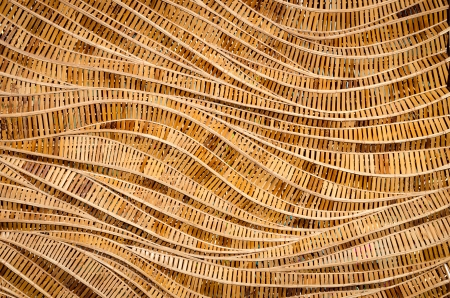 modern style pattern nature background of wave brown handicraft weave texture bamboo surface for decorative wall Stock Photo