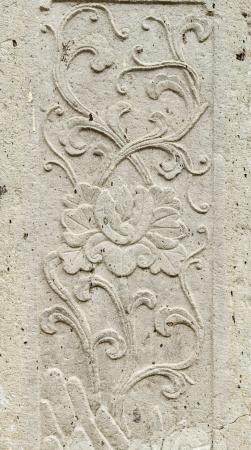 오래 된 돌 조각 꽃 퇴폐 배경에 울타리 벽 태국, 사찰에서 약 300 년 전 역사적인 사이트 태국 스톡 콘텐츠