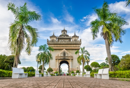 Patuxai literally meaning is a Victory Gate , formerly the Anousavary  Monument, known by the French as Monument Aux Morts is a war monument in the centre of Vientiane, Laos photo