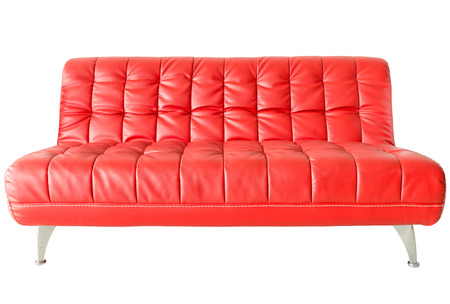 Image of a modern red leather sofa isolated against white background photo