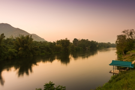 Nature view of River Kwai Landscape at sunset time , Kanchanaburi, Thailand photo