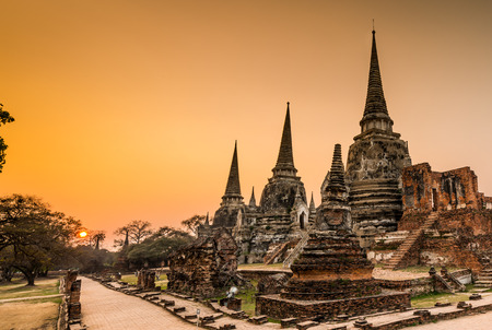 Old Temple Architecture , Wat Phra si sanphet at Ayutthaya, Thailand, World Heritage Site photo