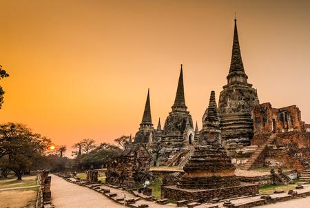 si: Old Temple Architecture , Wat Phra si sanphet at Ayutthaya, Thailand, World Heritage Site Stock Photo