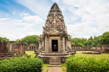 View of the historic Prasat Hin Phimai Castle at Nakhon Ratchasima Province, Thailand. The Khmer Castle were built during the Angkor period and marked the northern reaches of the realm.
