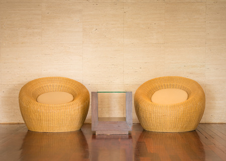 close up wicker chair decorative luxury modern in living room photo
