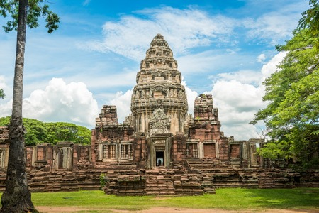 reaches: View of the historic Prasat Hin Phimai Castle at Nakhon Ratchasima Province, Thailand. The Khmer Castle were built during the Angkor period and marked the northern reaches of the realm.