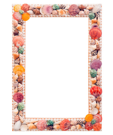 The photo frame with blank space inside and shells on white background Banco de Imagens