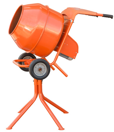 hopper: small orange concrete mixer machine and wheelbarrow isolate on white background
