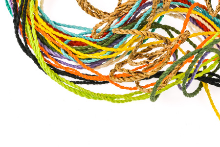 colorful rope  made from mulberry paper on white background photo
