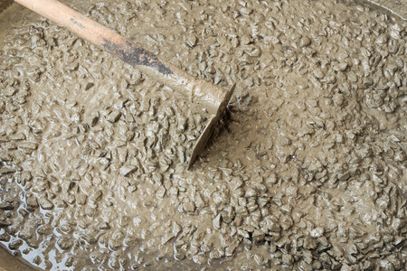 admixture: Close up background and texture of mixed fresh concrete on construction site