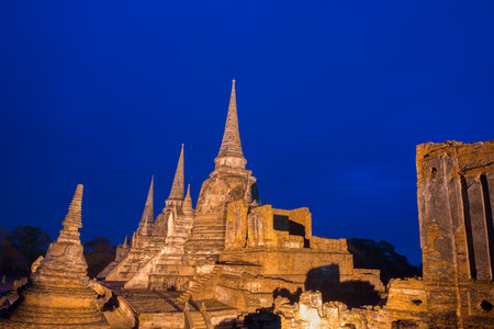 ordination: Old Temple Architecture in the night, Wat Phra si sanphet at Ayutthaya, Thailand