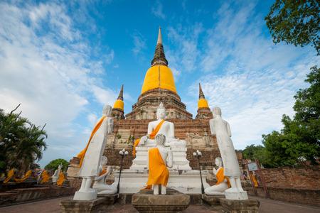 gautama: Old Temple Architecture , Wat Yai Chai Mongkol at Ayutthaya, Thailand
