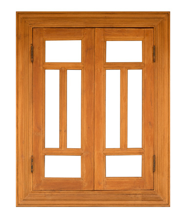 casement: close up wood casement Window isolated on white background