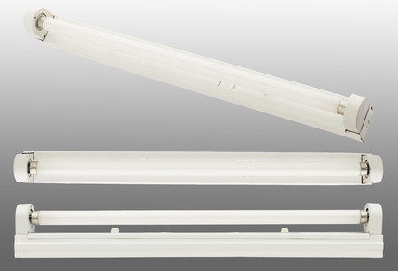 t5: close up of a fluorescent tube on white background Stock Photo