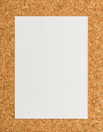 cork sheet: close up Blank white paper note sheet on cork board background for write memo