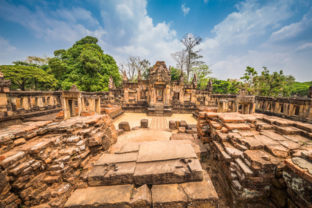 castle rock: Prasat Muang Tam historical park is Castle Rock old Architecture about a thousand years ago at Buriram Province,Thailand Editorial