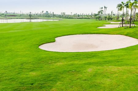 golf swings: view landscape of golf course at Thailand Stock Photo