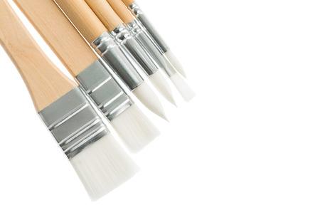 artist: six new paintbrush isolated on white background Stock Photo
