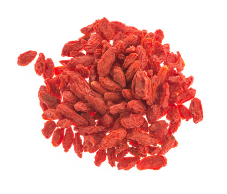 wolfberry: red dried goji berries on white background ( Lycium Barbarum , wolfberry )
