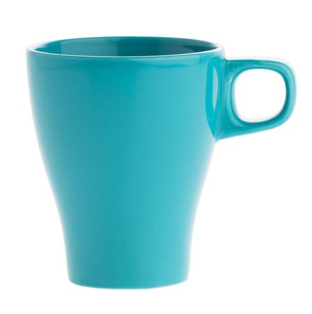 taza de t�: cerrar perfecta taza de caf� azul sobre fondo blanco