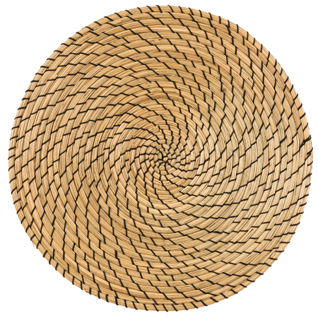 rattan mat: Dry Grass, Handmade Wicker placemat surface top view texture Isolated on white background Stock Photo