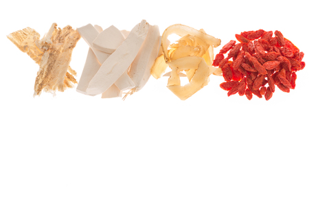 dried herbs: close up different kind of Chinese herbal medicine for soup food on white background