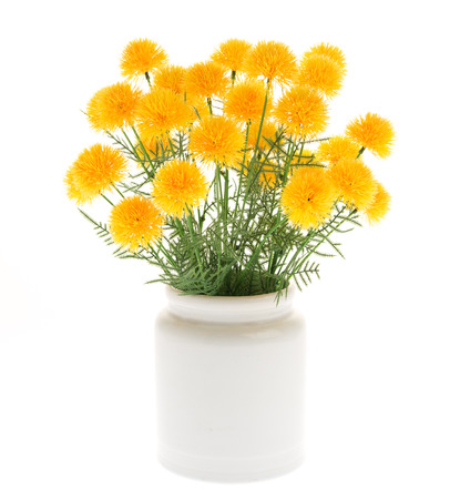 Close Up Marigold Artificial Flowers In White Ceramic Vase Isolated