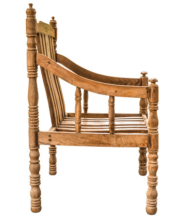rosewood: old and vintage style wooden armchair made from Siamese Rosewood or Thailand Rosewood or Dalbergia cochinchinensis Pierre wood isolated on white background