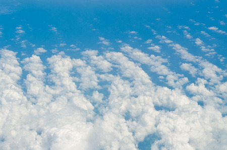 clouds background: view of a clouds on sky in the plane Stock Photo