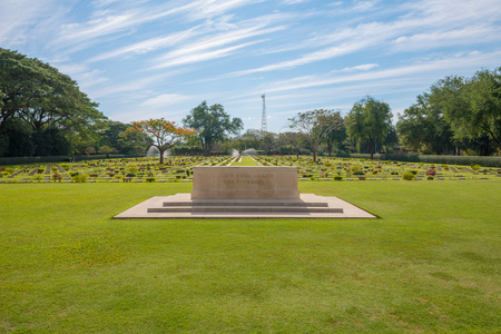 allied: Main Gate of  Chong-Kai War Cemetery at Kanchanaburi, Thailand. The cemetery contains the remains of 1,750 Allied prisoners during world war two.