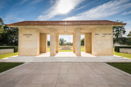main gate: Main Gate of  Chong-Kai War Cemetery at Kanchanaburi, Thailand. The cemetery contains the remains of 1,750 Allied prisoners during world war two.