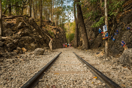 hellfire: Death Railway, Old railway at Hellfire pass, Kanchanaburi, Thailand