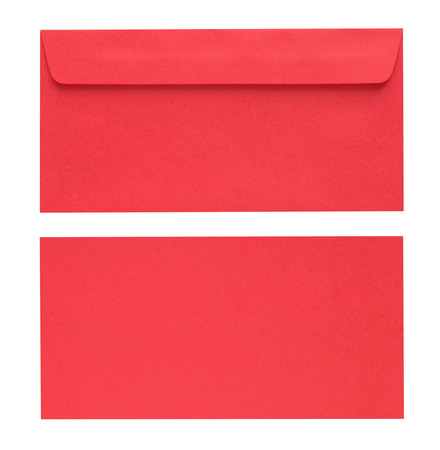 missive: close up red envelope isolated on white background with Clipping Paths