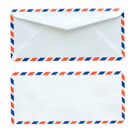objects with clipping paths: Flag of thailand white envelope isolated on white background with Clipping Paths