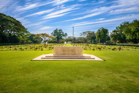 prisoners: Main Gate of  Chong-Kai War Cemetery at Kanchanaburi, Thailand. The cemetery contains the remains of 1,750 Allied prisoners during world war two.