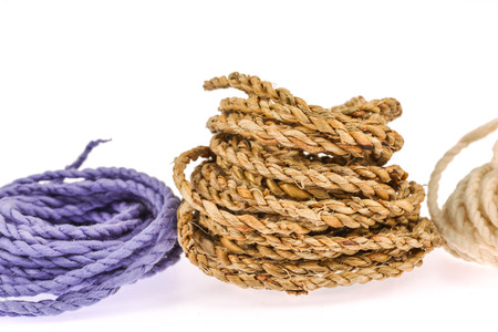 mulberry paper: colorful rope  made from mulberry paper on white background