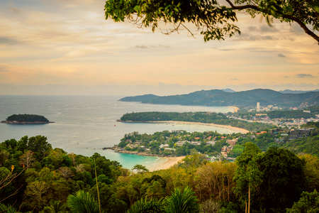 Landscape of Phuket View Point, Karon Beach, Kata Beach, Taken from Karon Viewpoint. Located in Phuket Province, Thailand. Stock Photo