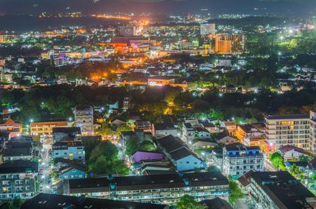 Landscape view at Khao Rang Viewpoint of Phuket city in night shot, Phuket province Thailand