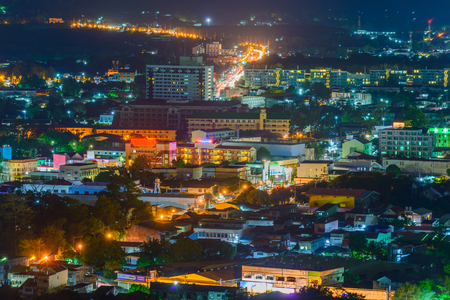 Landscape view at Khao Rang Viewpoint of Phuket city in night shot, Phuket province Thailand