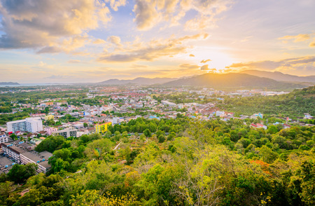 Landscape at Khao Rang Viewpoint of Phuket city in sunset, Phuket province, Thailand