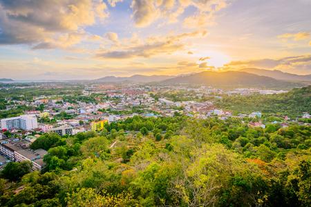 Landscape at Khao Rang Viewpoint of Phuket city in sunset, Phuket province, Thailand