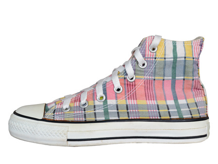 close up vintage style of sport plaid sneaker shoe isolated on white background with clipping path