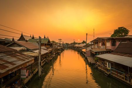 Travel Amphawa Floating market village at sunset , Samut Songkhram Province, Thailand Stock Photo