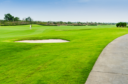 view landscape of golf course at Thailand Stock Photo