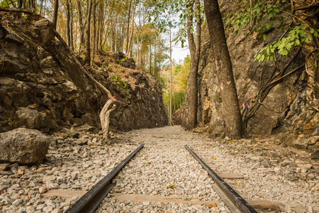 Death Railway, Old railway at Hellfire pass, Kanchanaburi, Thailand