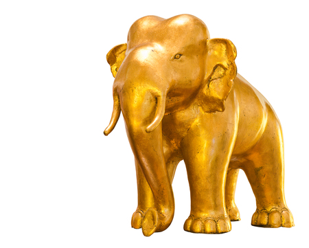 golden elephant standing isolated on white background Stock Photo