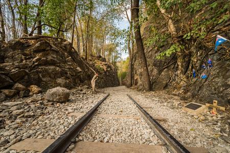 Death Railway, Old railway at Hellfire pass, Kanchanaburi, Thailand